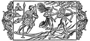 Olaus Magnus, scène de chasse à l'arc, 1555