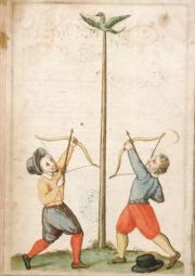 Archers lors du jeu du papegai à Avignon au XVIIe siècle
